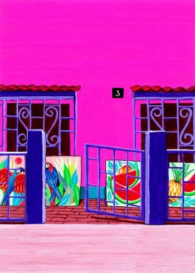 paintings glimpse house yard canvases macaws street windows acrylics exotic artist artworks fruits