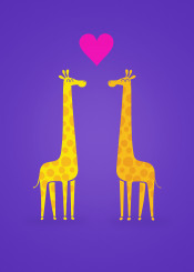 giraffe couple love valentines day heart minimal cartoon cute sweet girls kids baby comi