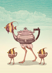 ostrich chick desert fish teapot sugar surrealism