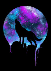 wolf wolves space galaxy howl unique colorful neon colors pruple violet