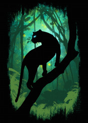 panther silhouette forest jungle leaves green neon cheetah animal unique illustration