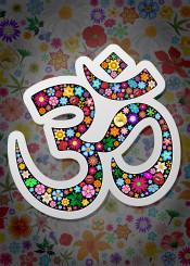 namaste sign flowers floral symbol abstract yoga zen meditation decorative concept exotic oriental