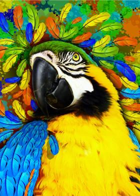 macaw parrot gold blue exotic bird wild feathers fantasy paint photo tropical digitalart portrait