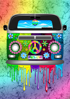 hippie van groovy retro bus peaceandlove peacesign peace flowers paint rainbow drippingpaint popart