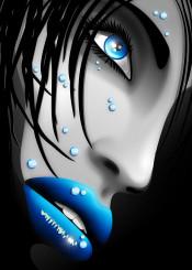 girl blue water beauty portrait woman lips eyes drops lipstick blueeyes waterdrops closeup wet model