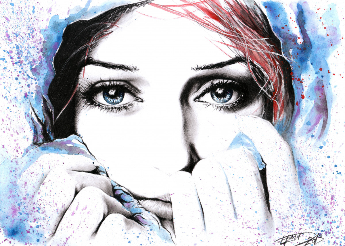 See what feelings I hide   Watercolor and charcoal