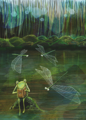 frog dragonflies pond water green children storybook whimsical cute quirky