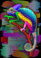 chameleon rainbow psychedelic popart animal exotic brush patterned graphicart reptile wildlife