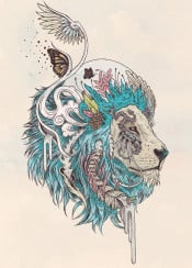 lion surreal drawing illustration dream cat detail blue teal cool ornate organic nature animals