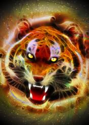tiger roar wild bigcat surreal digitalart cosmic galactic fantasy fierce fractal wildlife exotic