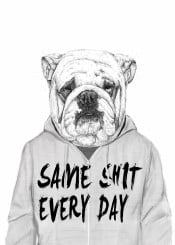 bulldog dog portrait quote black white animal humor funny