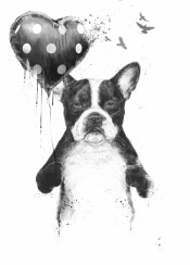 dog bulldog animal love heart balloon black white grunge