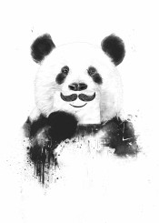 panda animal moustache humor funny black white drawing grunge