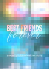 best friends forever geometric mosaic stained glass abstract squares inspirational quote text art