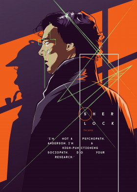 sherlock holmes series bbc orange purple benedict cumberbatch martin freeman line illustration