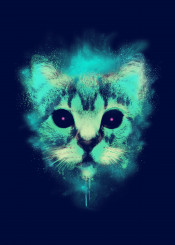 cat alien unique animal space galaxy abstract illustration meow neon colors cosmic cat