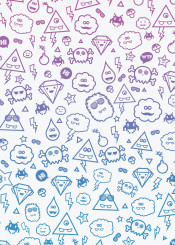 diamond monsters freaky space invaders cute triangle pattern sweet child pink
