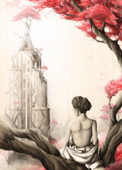 nature forest woman red flowers apocalypse postapocalyptic city skyline tree roots buildings