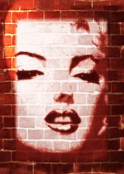 marilyn streetart brick wall graphicart portrait beautiful woman girl retro diva actress famous