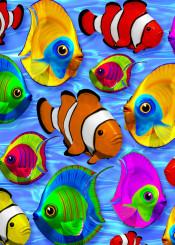 digitalart 3d fishes animal blue clownfish oceanlife water sea ocean sealife pattern exotic