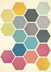 collage honeycomb hexagons pattern multicoloured rose grey teal mustard geometric pastel colourful