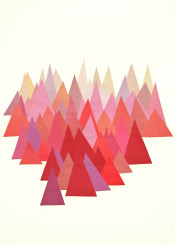 mountains landscape abstract nature summer geometric minimal modern red pink ochre