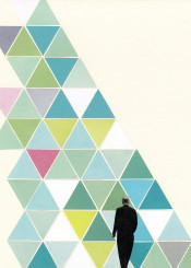 male figure abstract geometric modern collage man triangles olive green teal lilac surreal