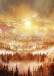 nature landscape fine art mixed media magical illustration