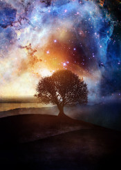 nature landscape nebula tree water stars fineart mixed media illustration