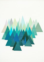 mountains geometric landscape nature abstract cold cool turquoise teal mint green minimal simple