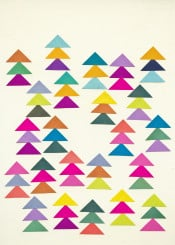 forest firs trees geometric abstract triangles shapes minimal mulitcoloured simple purple pink teal