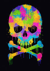 illusion optical illusion trend water color skull pink graffiti paint splashes hipster colo