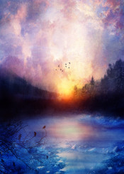 illustration nature fineart river birds magical sunset