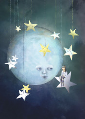 night moon stars girl people clouds whimsy children illustration