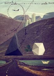 collage distant lands riverside ship paper vintage 60s 70s turquoise nature men for him surreal