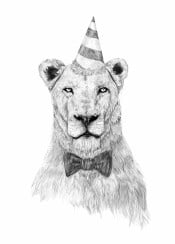 lion animal drawing portrait hat black and white humor funny