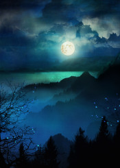 landscape illustration nature love moon fineart