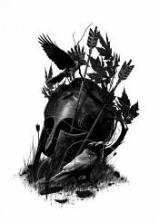 helmet crow arrows birds leaves nature