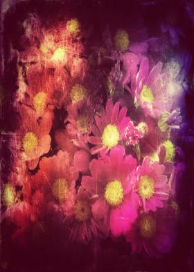 Vintage Photograph Flowers Retro Textured Old Nature Dreamy Blue Violet Yellow Antique Colors