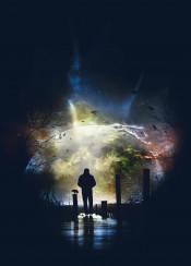 end moon sky cloud light future star full glowing mist illuminated astrology back black blue drama