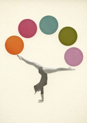 sport gymnastics retro vintage woman spots geometric modern balls lilac olive orange