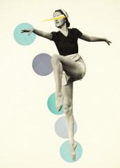 dance ballet female woman vintage abstract circles spots geometric blue grey modern