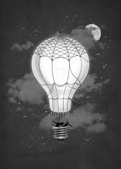 space night stars vintage light sky moon cloud balloon retro steampunk