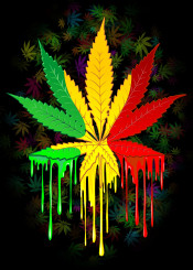 marijuana leaf rasta reggae symbol dripping paint colordrops leaf plant nature symbol pop trippy