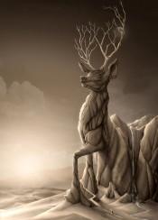 deer animal animals mountain revenge nature landscape carving sculpture stone statue epic titan suns