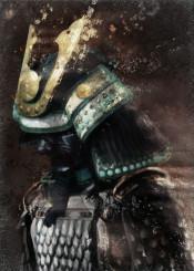 samurai warrior japanese japan brown kabuto edo armor painting golden trail medieval mask men scales
