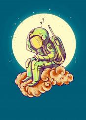astronauts space cloud moon humor art illustration