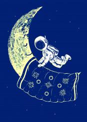 moon sleep astronauts space art illustration
