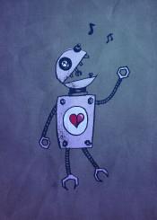 robot robots cute heart ding dong notes singing