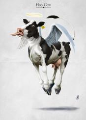 cow bovine animal religion float wings hoof angel halo fresian tongue beef
